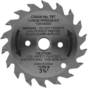 6761 3-3/8in Crain 787 Carbide Tipped Repl Blade