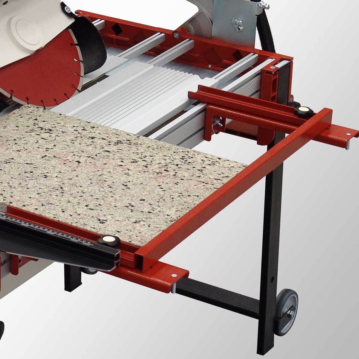 Raimondi Rail saw cutting granite with extension side square