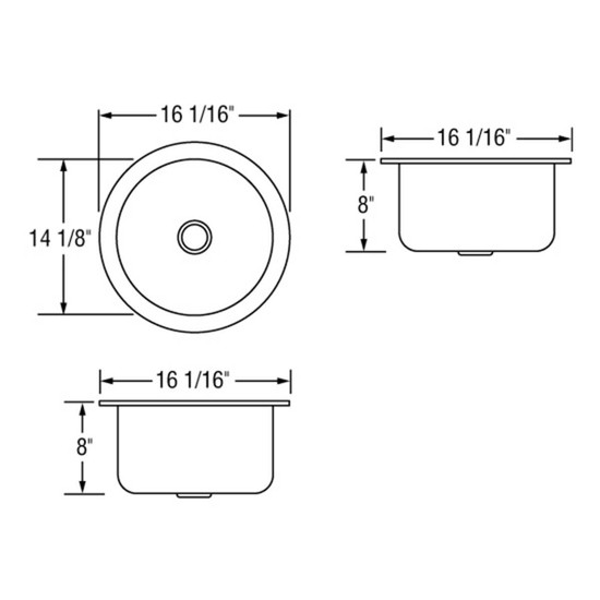 Artisan AO16-D8-D Single Bowl Sink Dimensions