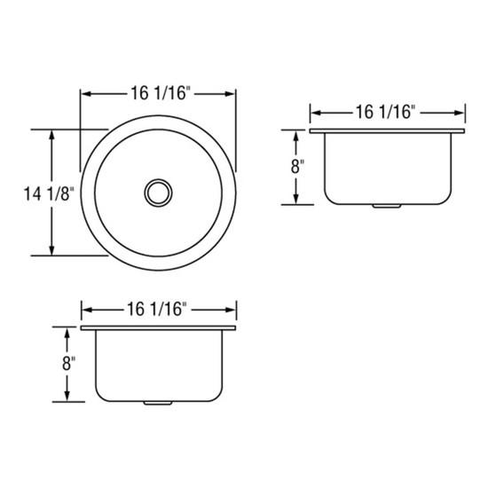 Artisan AO16-D8-D Single Bowl Sink Dimensions