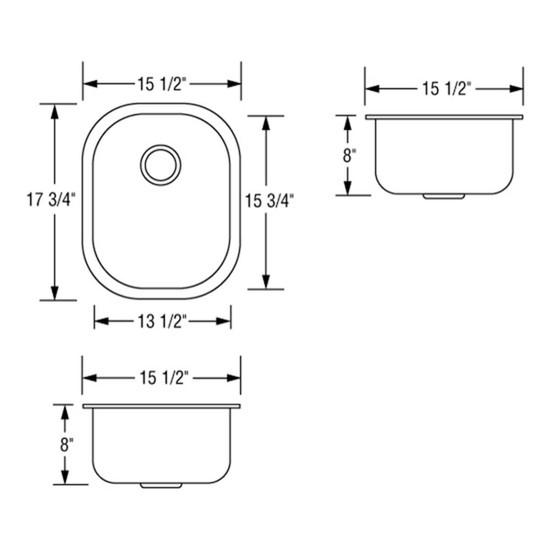 Artisan AR1618-D8 Single Bowl Sink Dimensions
