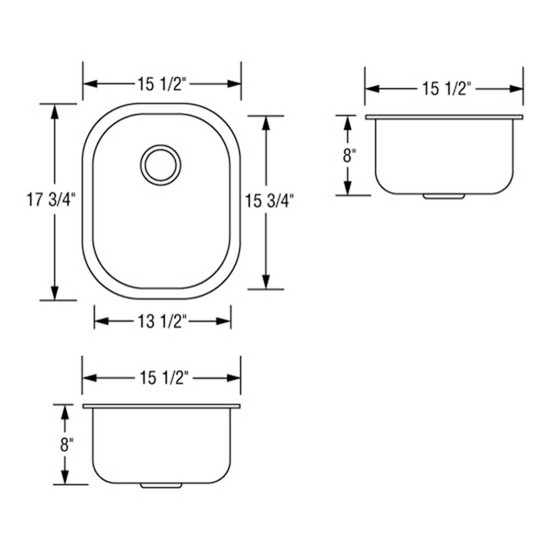 Artisan AR1618-D8 Single Bowl Sink Dimensions