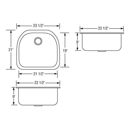 Artisan AR2321-D9 Single Bowl Sink Dimensions