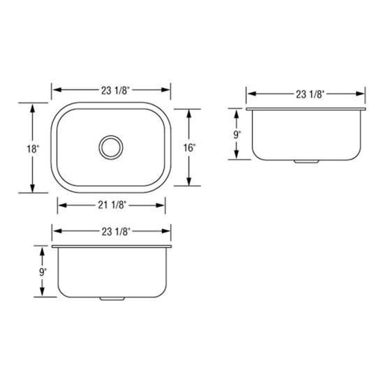Ar2318 D9 Single Bowl Sink Dimensions