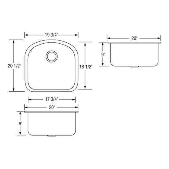 Artisan AR2120D9-D Sink Dimensions