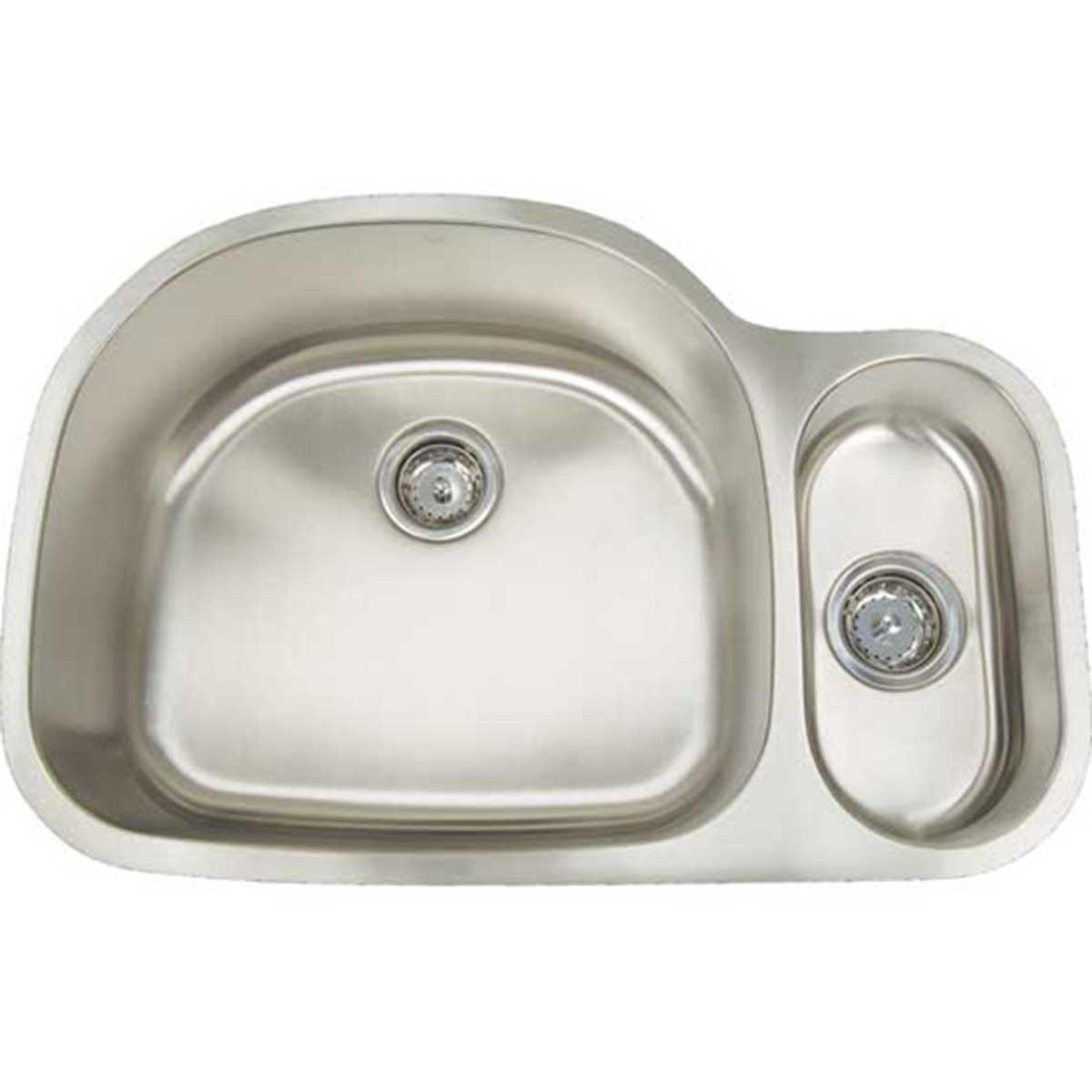 artisan sinks reversed draw  artisan sinks double bowl ar3121 d9     artisan kitchen sinks 16 gauge double bowl  contractors direct   rh   contractorsdirect com