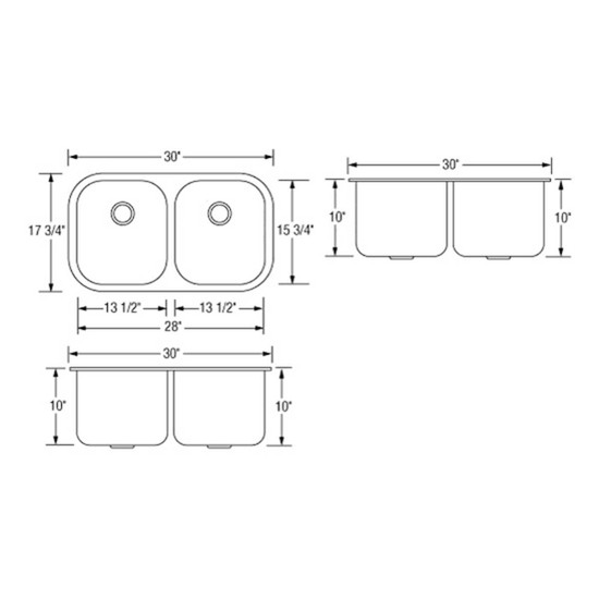 Artisan AR3218D1010-D Double Bowl Sink Dimensions