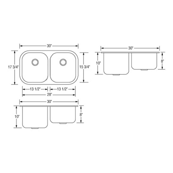 Artisan AR3218D108-D Double Bowl Sink Dimensions