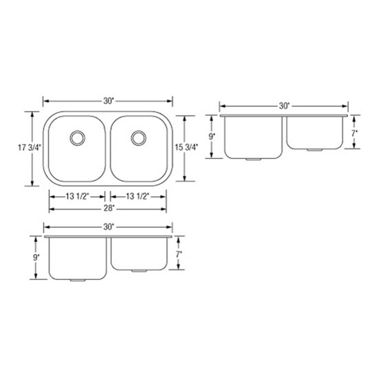 Artisan AR3218D97-D Double Bowl Sink Dimensions