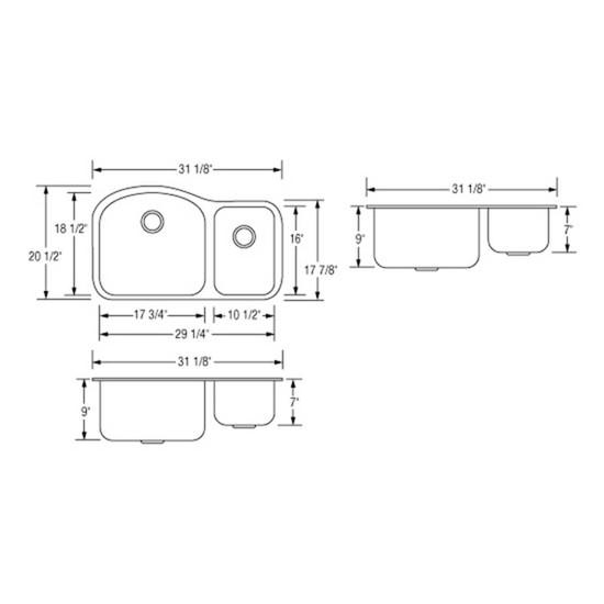 Artisan AR3220-D9/7 Double Bowl Sink Dimensions