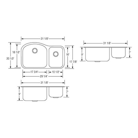Artisan AR3220-D9/7 Double Bowl Sink Dimensions