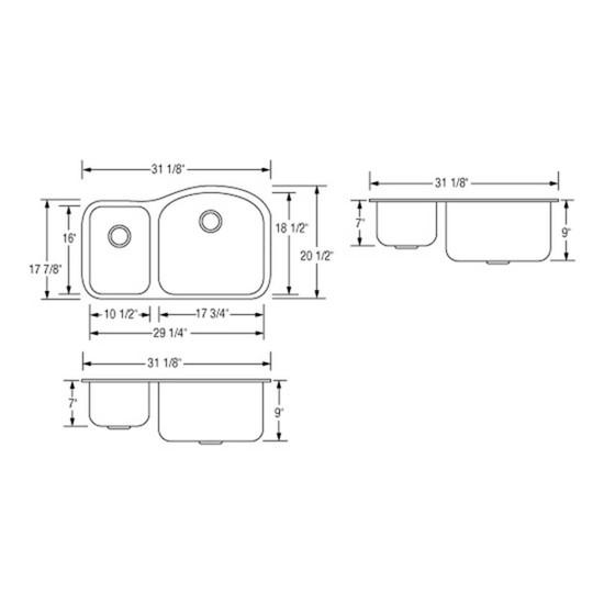 Artisan AR3220-D9/7R Double Bowl Sink Dimensions