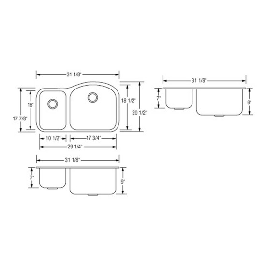 Artisan AR3220-D9/7R Double Bowl Sink Dimensions
