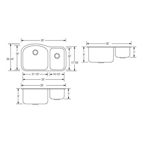 Artisan Double Bowl sink drawing