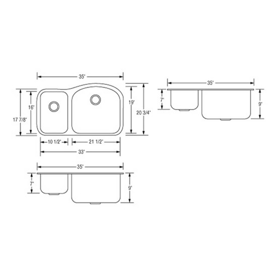 Artisan AR3521D97R-D Sink Dimensions