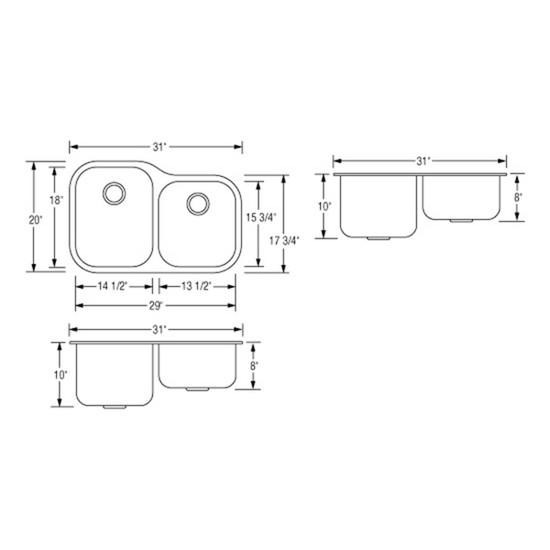 Artisan AR3221D108-D Double Bowl Sink Dimensions