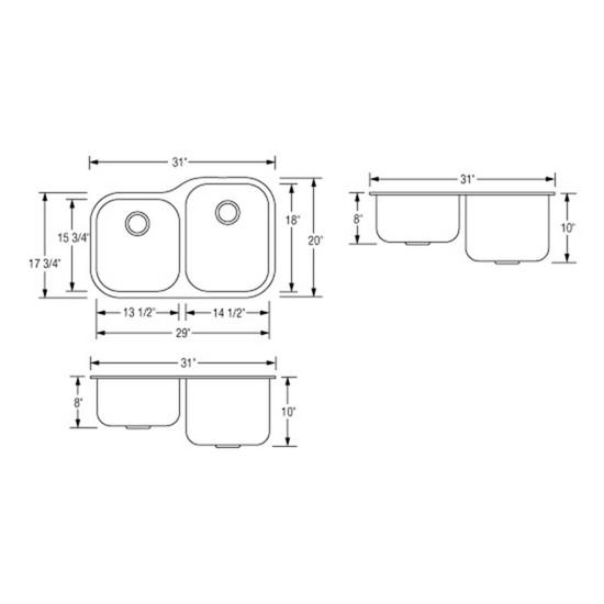 Artisan AR3221D108R-D Double Bowl Sink Dimensions