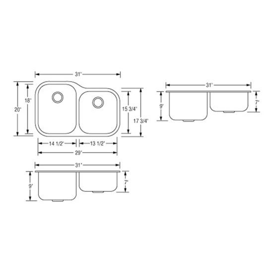 Artisan AR3221D97-D Double Bowl Sink Dimensions
