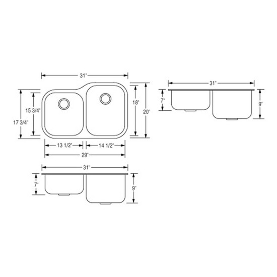 Artisan AR3221D97R-D Double Bowl Sink Dimensions