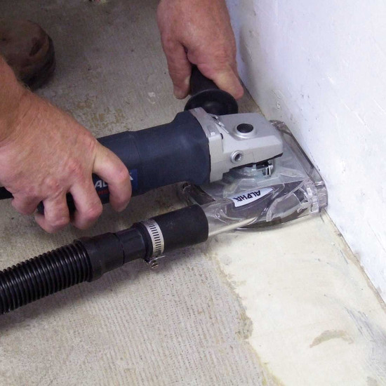 Edge Grinding Concrete with Type G Dust Shroud