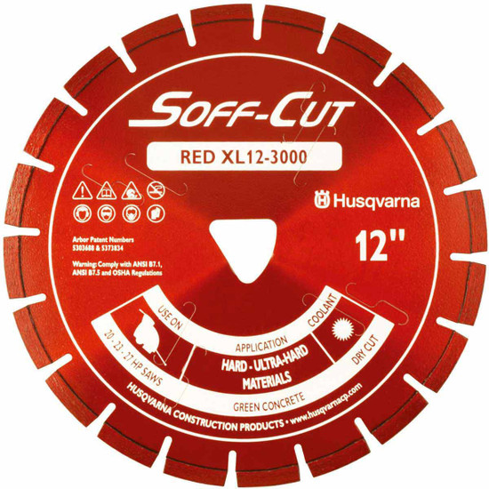 Husqvarna Soff-Cut Excel 3000 X50 Red High Speed Green Concrete Blade