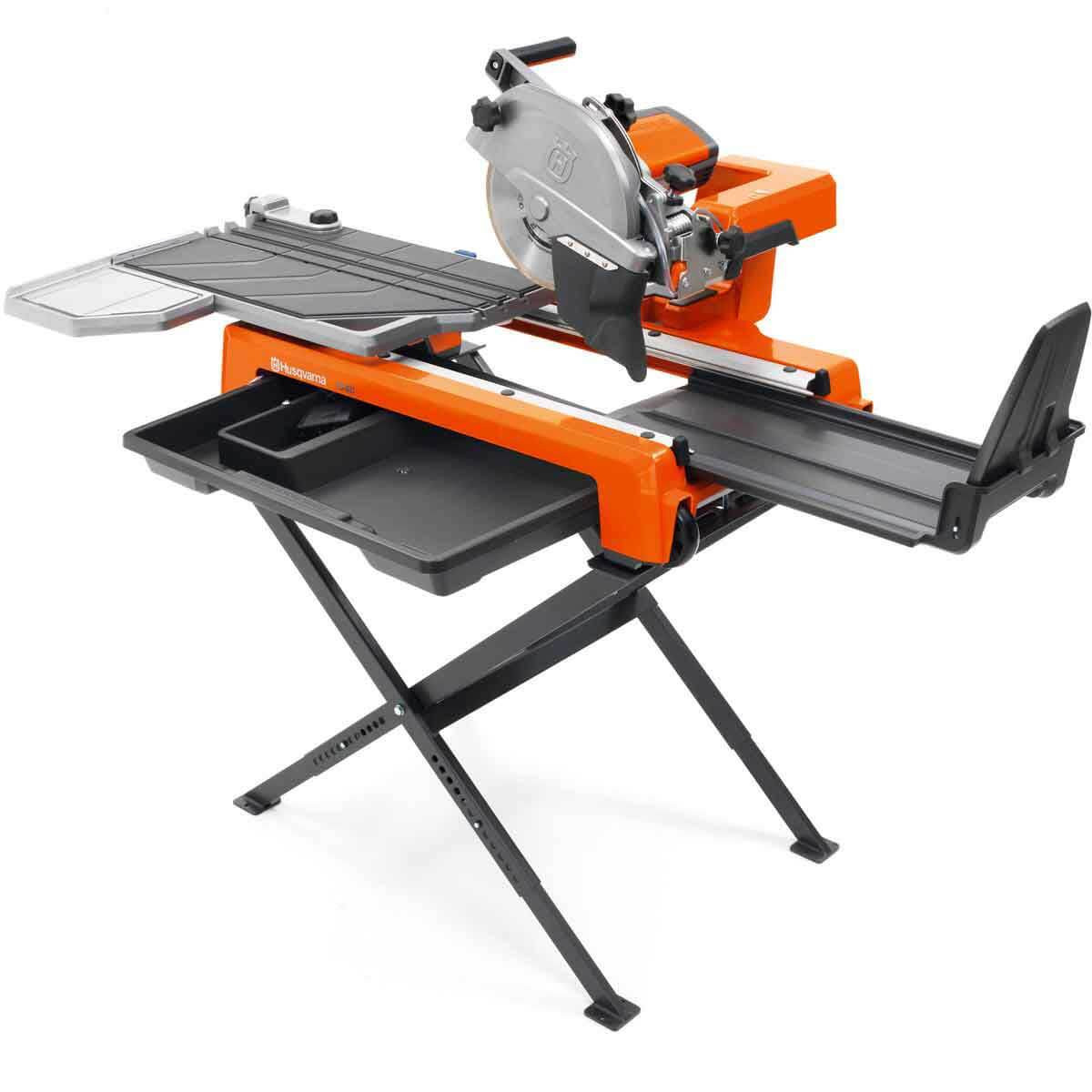 Husqvarna TS 60 tile saw with extension table and splash guard