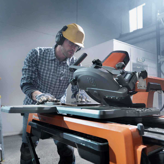 Husqvarna TS60 Wet Tile Saw In Use