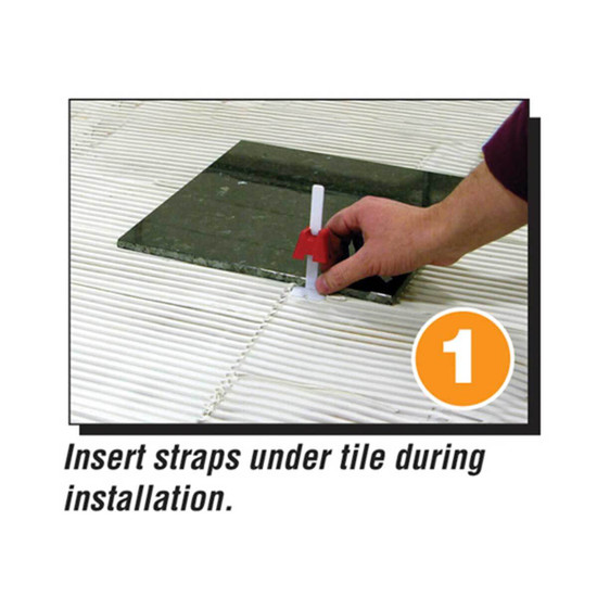 Tuscan Leveling System insert straps under tile during installation