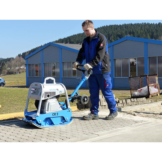 Compacting a stone patio with Weber CR-2 plate compactor