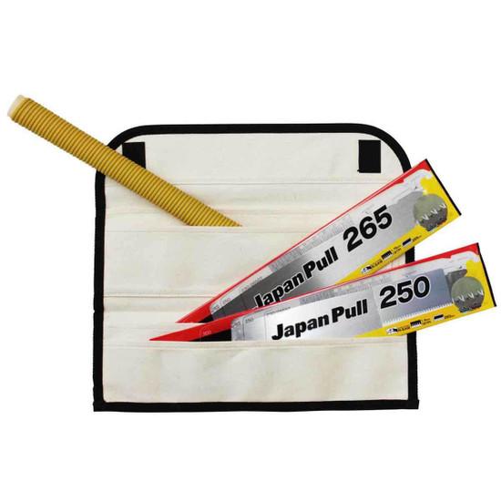 Tajima JPR-SET Japan Pull Saw Set and Blades Premium-grade thin spring steel blades for fast cross-cuts, flexes for ultra-close flush-cuts