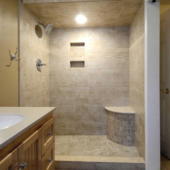 Laticrete Convex Shower Bench Installed