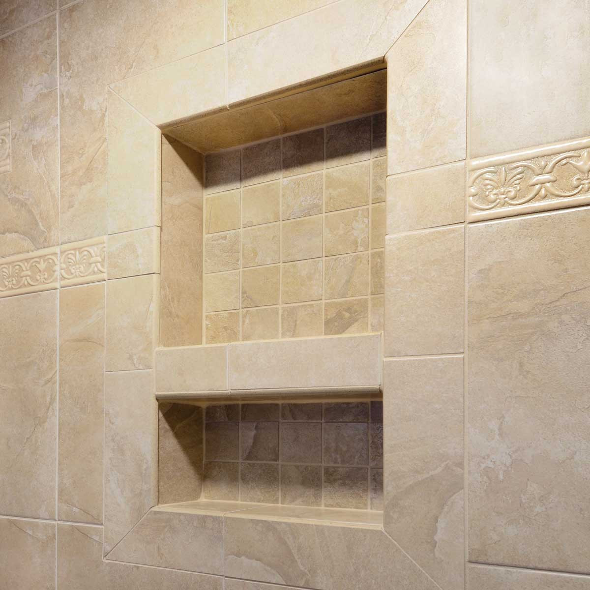 laticrete, shower niche, wide combo
