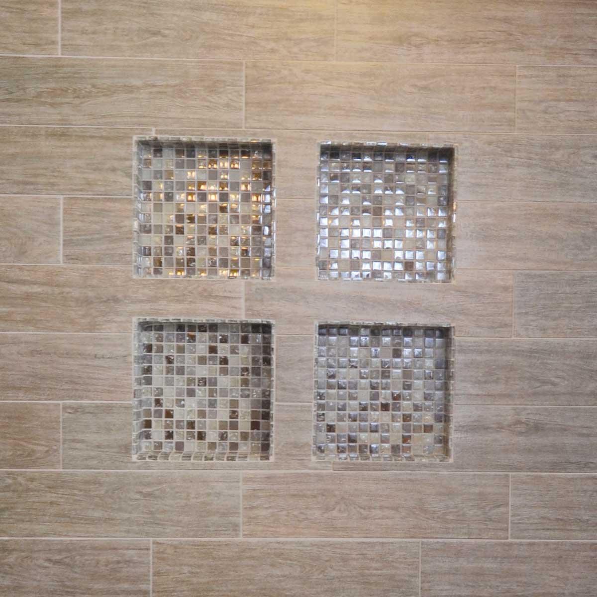 tile niche, mosaic, square, laticrete
