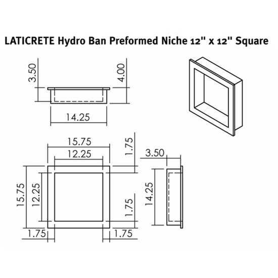 9311-1212-S Laticrete Hydro Ban Shower Wall Niche