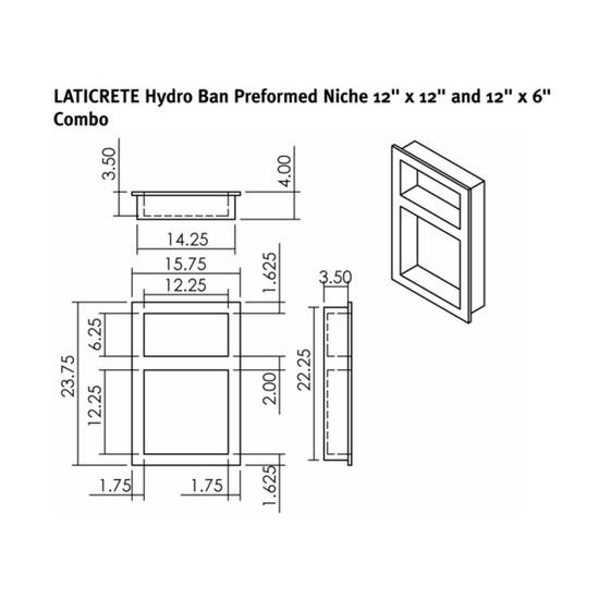 9312-1212-WC Laticrete Hydro Ban Shower Wall Niche