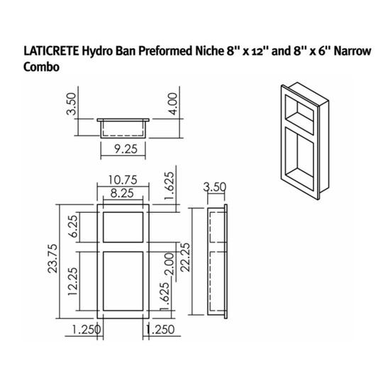 9313-0812-NC Laticrete Hydro Ban Shower Wall Niche