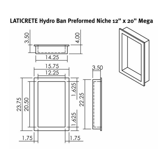 9314-1220-M Laticrete Hydro Ban Shower Wall Niche