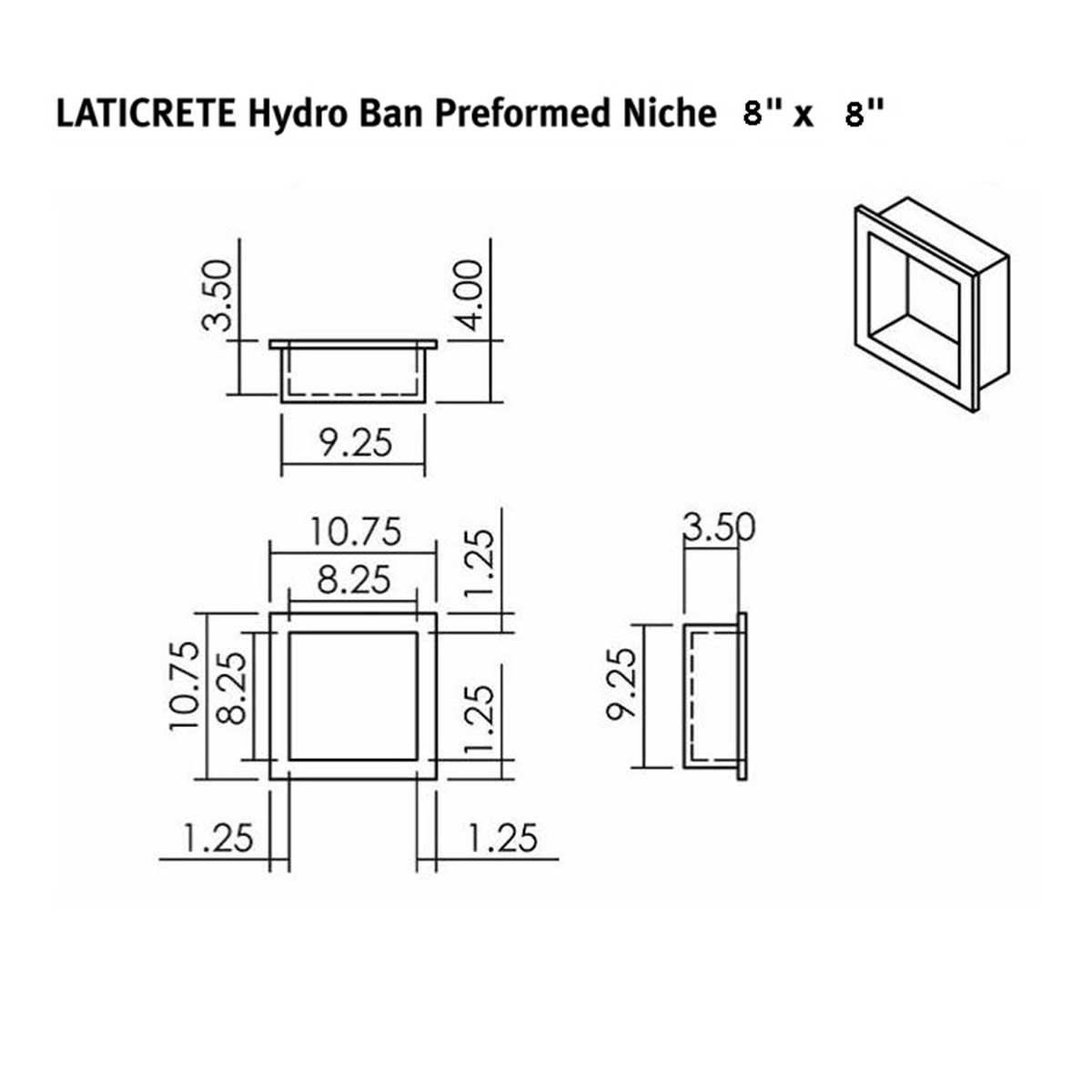 laticrete, waterproof, shower niche, square