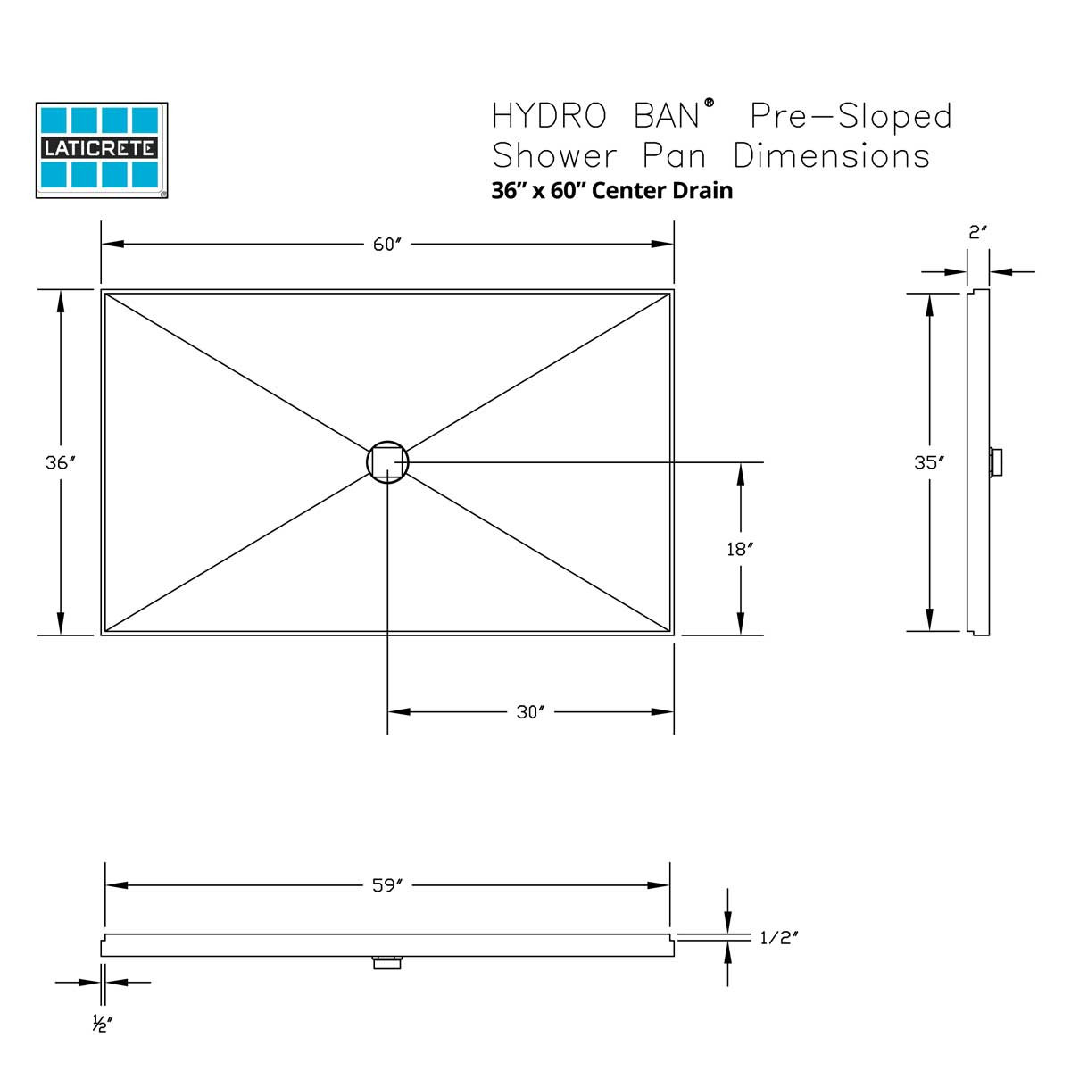 9350-3660-PVC 36 x 60in Center Drain Hydro Ban Pre-sloped Shower Pan