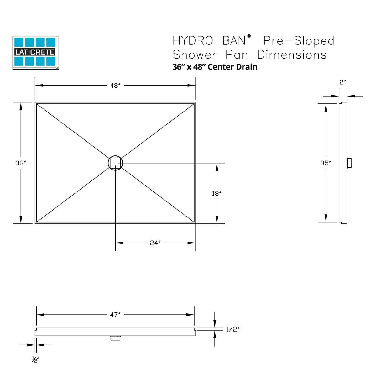 9352-3648-PVC Center Drain 36 x 48in Hydro Ban Pre-sloped Shower Pan