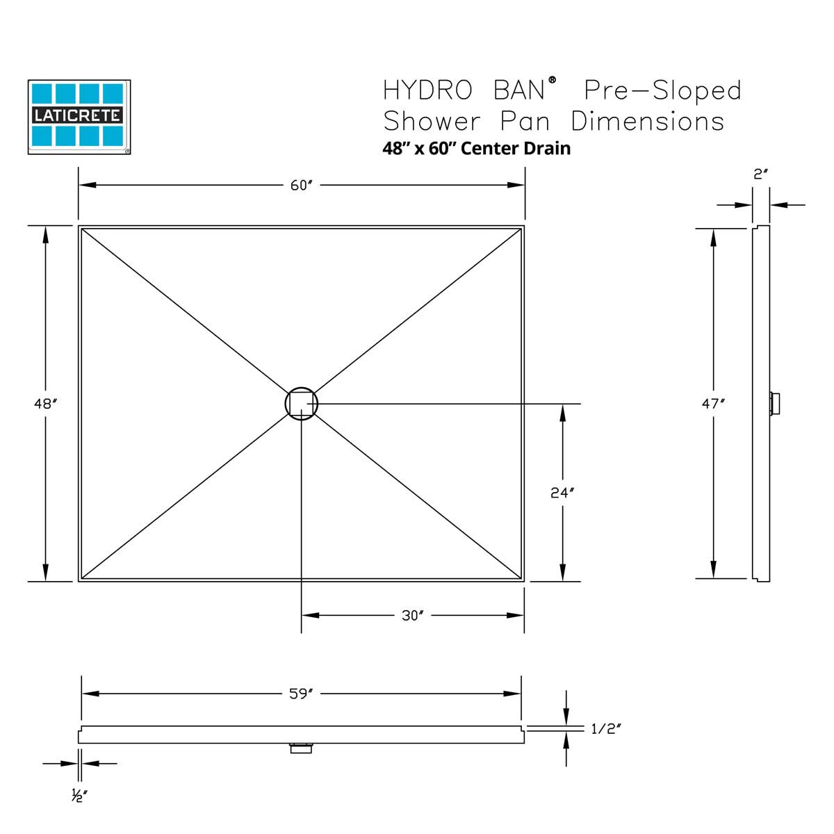 9360-4860-PVC Center Drain Laticrete Hydro Ban Pre-sloped Shower Pan