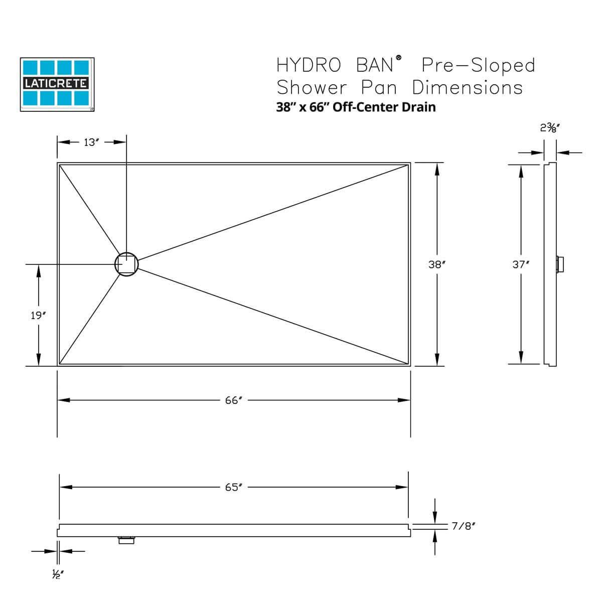 9370-3866-PVC 38 x 66in Laticrete Hydro Ban Pre-sloped Shower Pan