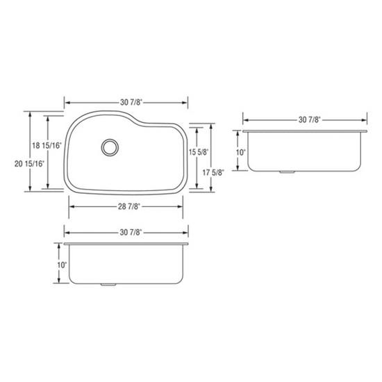 dimensions AR3120-D10 Artisan Sinks Premium Series 16 Gauge Single Bowl