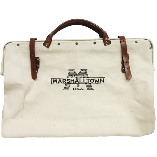 831 Marshalltown 20x15 in. Canvas Tool Bag Made of heavy duty canvas with lock stitched seams, Waterproof masonite bottom with four metal studs