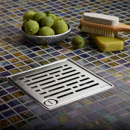 Quartz by aco square drain with choice of grate designs, Security lockable grates for added security in public areas