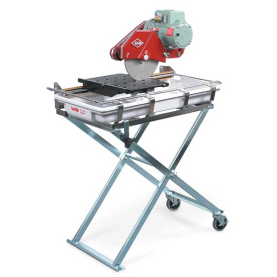 MK Tile Saw on folding stand with wheels
