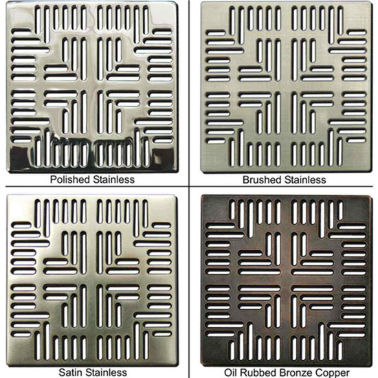 The shower grates are laser cut for precision and accuracy, compatible with either the newer E4400 series drain risers or the older EZ series, easy to up grade an existing ebbe-America shower drain