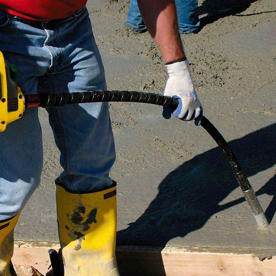 Wacker Neuson SMS Concrete Vibrator Shafts in use on slab