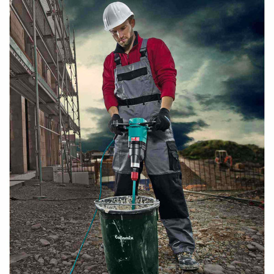 20441 Xo6 Collomix Mixer Ergonomically shaped handles provide for a firm and effortless grip, Complete bucket mix. none left at the bottom of bucket