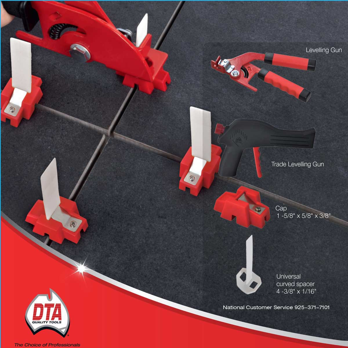dta universal leveling system layout with strap and cap